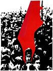 7187.People gathered for protest with red flag.POSTER.art wall decor
