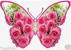 25 x Gorgeous PINK Roses Butterflies -  Edible Decorations Cup Cake Toppers