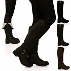 New Womens Ladies Knee High Boots Low Flat Heel Zip Up Buckle Detail Shoes Size
