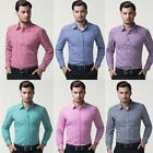Brand New Mens Long Sleeve Grid Pattern Businees Casual Shirt Tops Career Blouse