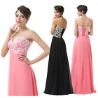 Long Black Chiffon Wedding Evening Formal Party Ball Gown Prom Bridesmaid Dress