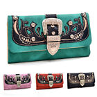 Women Leather Rhinestone Buckle Tri-fold Western Wallet Checkbook Cover Card New