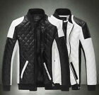 New men's stand-up collar stitching motorcycle leather garments jackets coats