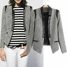 UK NEW 31% Wool Grey Boucle Iconic Celeb Blazer Jacket Coat Faux Leather PU Trim