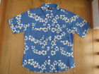 TRESPASS HOTCAKES FUNKY TROPICAL HAWAIIAN BLUE WHITE FLOWER SHIRT TOP S M L NEW