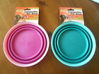 Small Portable Dog Cat Bowl Dish Food Water Pink or Blue Travel Outdoor Camping