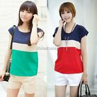 Korea Women Striped Chiffon Loose Tops Short Sleeve T-Shirt Ladies Blouses ItS7