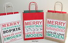 Personalised Paper Christmas Text Gift Bag Present With Tissue Paper