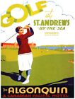 7954.St Andrews by the sea.canadian pacific.woman golfing.POSTER.art wall decor