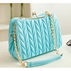New Candy Leather like Pleated Clip Women Handbag Mini Plaid Chain Crossbody Bag