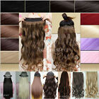Long real mega thick clip in hair extensions 3/4 full head Curly Wavy Straight