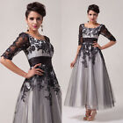 STOCK New Bridesmaid Wedding Gown Prom Ball Evening Dress Square Neck UK 6-20
