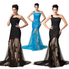 Sexy Womens 1 Shoulder Lace Ball Evening Prom Party Formal Long Bridesmaid Dress