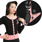 Voodoo Vixen Isabella Retro Cat Cardigan Retro Pin Up Rockabilly Atomic Vintage