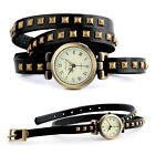 Retro Fashion Quartz Wrist Watch Wrap Around Leather Rivet Studded Bracelet