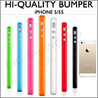 New Stylish Bumper Case Cover iPhone SE, 5S, 5 With Metal Button in 13 Colours