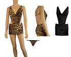 Halter Siamese Chain Mini Dress Leopard Print or Black & G-string Evening Party