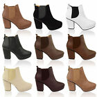 Women Mid High Heel Block Platform Ankle Low Chelsea Boots Shoes Size