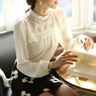 Womens Ladies Chiffon Long Sleeve Lace Top Shirt Blouse Tee Pullover S/M/L/XL