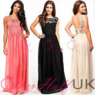 UK Women Formal Long Lace Prom Evening Party Bridesmaid Wedding Maxi Dress