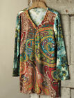 ULLA POPKEN Stretch Cotton Ethnic Paisley Print Embroidered Tunic 16/18 to 32/34