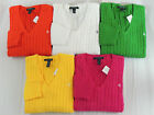 Women Ralph Lauren RLL V Neck Sweater Jumper Cable Knit Winter Shirt S M L XL