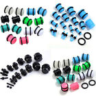 Pair Acrylic Double Flared O-Ring Straight Ear Expander Plugs Stretcher Piercing
