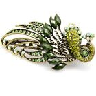 Fashion Vintage Jewelry Crystal Green Peacock Hair Clips Hair Clip Beauty Tools