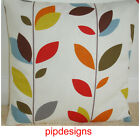 """NEW Cushion Cover Stem Leaves Orange Red Blue Green Brown 12"""" 14"""" 16"""" 18"""" 20"""" 24"""