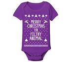 Merry Christmas Ugly Sweater funny Xmas Creeper Purple Baby One Piece