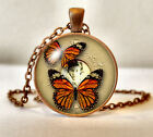 Antique Copper Finish Vintage Butterfly Pendant Necklace + Box - Many Designs