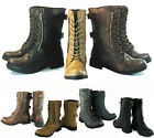 NEW Zipper Round Toe Low Heel Combat Military Lace Up Mid Calf Womens Shoes Size