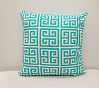White / Teal Indoor/Outdoor Towers Pacific 100% polyester Pillow Cover / Case