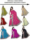 NW Women Chiffon Georgette Sequin Embroidery Work Saree Sari Fabric bellydance A