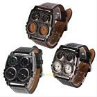 OULM Military Army Square White Dual Time Zones Movement Quartz Mens Watch LS4G