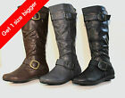 "New Women Knee High Fashion Faux Leather Boots Shoes Size "" Order One Size Up """