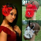 Fashion Handmade Wedding Bridal Fascinator Feather Flower With Clip Red/Ivory