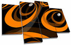 Retro Funky Orange Black Sixties Canvas Wall Art Picture Multi 4 Panel Split