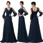 BEADED Long Hollowed Sleeve Evening Formal Party Ball Gown Prom Homecoming Dress