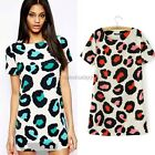 Casual Womens Korean Short Sleeve Chiffon Leopard Print Summer Mini Dress Shirt