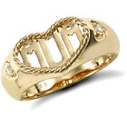 Jewelco London 9ct Solid Gold Mum Ring in rope edged heart with CZ set shoulders