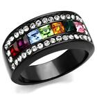 WOMEN'S BLACK STAINLESS STEEL MULTIPLE COLOR PRINCESS CUT CRYSTAL RING SIZE 5-10