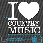 """I Heart ( love ) Country Music - 5"""" x 5"""" - vinyl decal sticker cowboy cowgirl"""