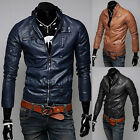 TOP FASHION Men PU LEATHER Coats Slim Fit Outwear Biker Motorcycle Jackets Parka