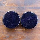 Pair of Blue Goldstone - Sandstone Stone Plugs Double Flared 3mm - 25mm 13 sizes