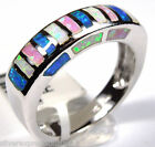 Multicolor Pink White Blue Fire Opal Inlay 925 Sterling Silver Ring size 6,7,8,9