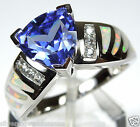 Trillion Tanzanite & White Fire Opal Inlay 925 Sterling Silver Ring sz 6,7,8,9