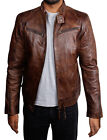 Mens Retro Style Zipped Biker Jacket Genuine Leather Vintage Look Jacket