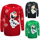 KIDS UNISEX BOYS GIRLS KNITTED OLAF CHRISTMAS XMAS JUMPER ACRYLIC SWEATER 3-12
