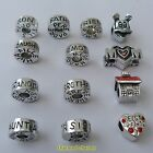 1 or 4 x Silver Tone Charm Beads To Fit European Style Charm Bracelets *UK ONLY*